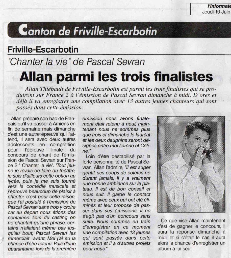 Allan Vermeer parmi les trois finalistes