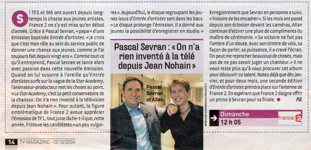 Pascal Sevran : On a rien inventé à la télé depuis Jean Nohain