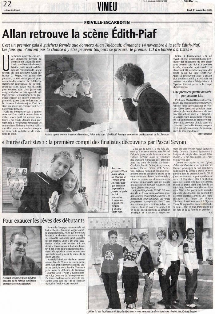 Allan Vermeer retrouve la scène Edith Piaf