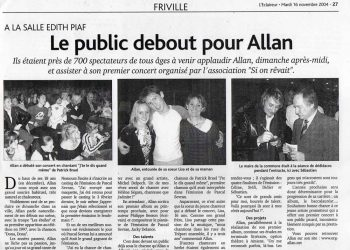 Le public debout pour Allan Vermeer
