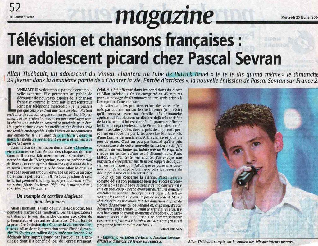 Allan Vermeer : Télévision et chansons françaises - un adolescent picard chez Pascal Sevran