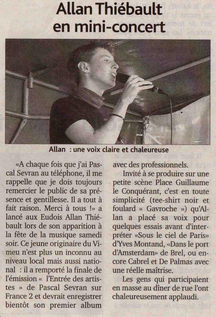 Allan Vermeer en mini-concert (La manche libre)