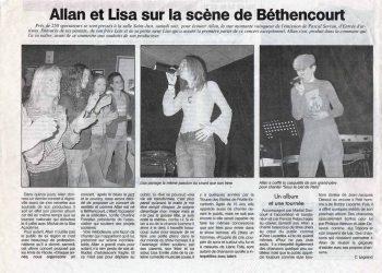 Allan Vermeer et Lisa sur la scène de Béthencourt (Le courrier Picard)