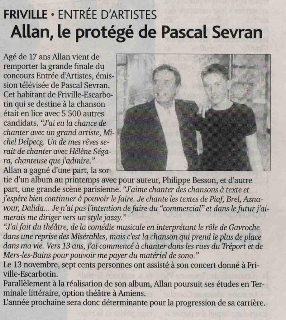 Allan Vermeer, le protégé de Pascal Sevran