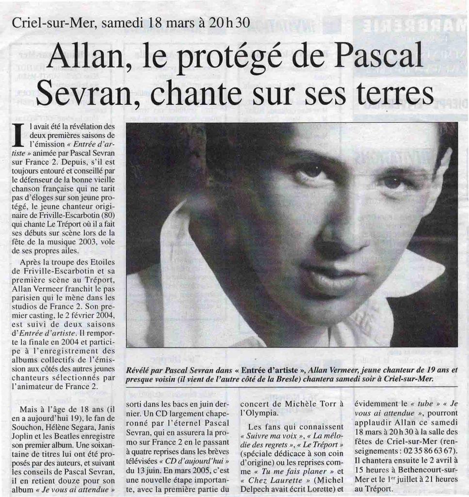 Allan Vermeer, le protégé de Pascal Sevran, chante sur ses terres