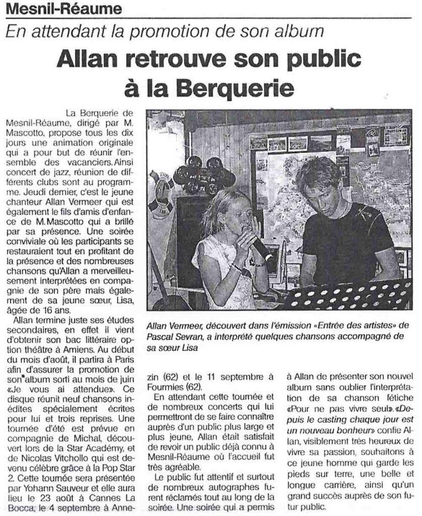 Allan Vermeer retrouve son public à la Berquerie (L'informateur)