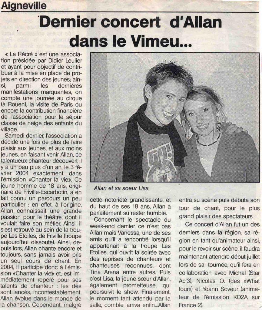 Dernier concert d'Allan Vermeer dans le vimeu