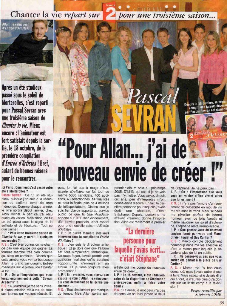 Pascal Sevran : Pour Allan Vermeer, j'ai de nouveau envie de créer